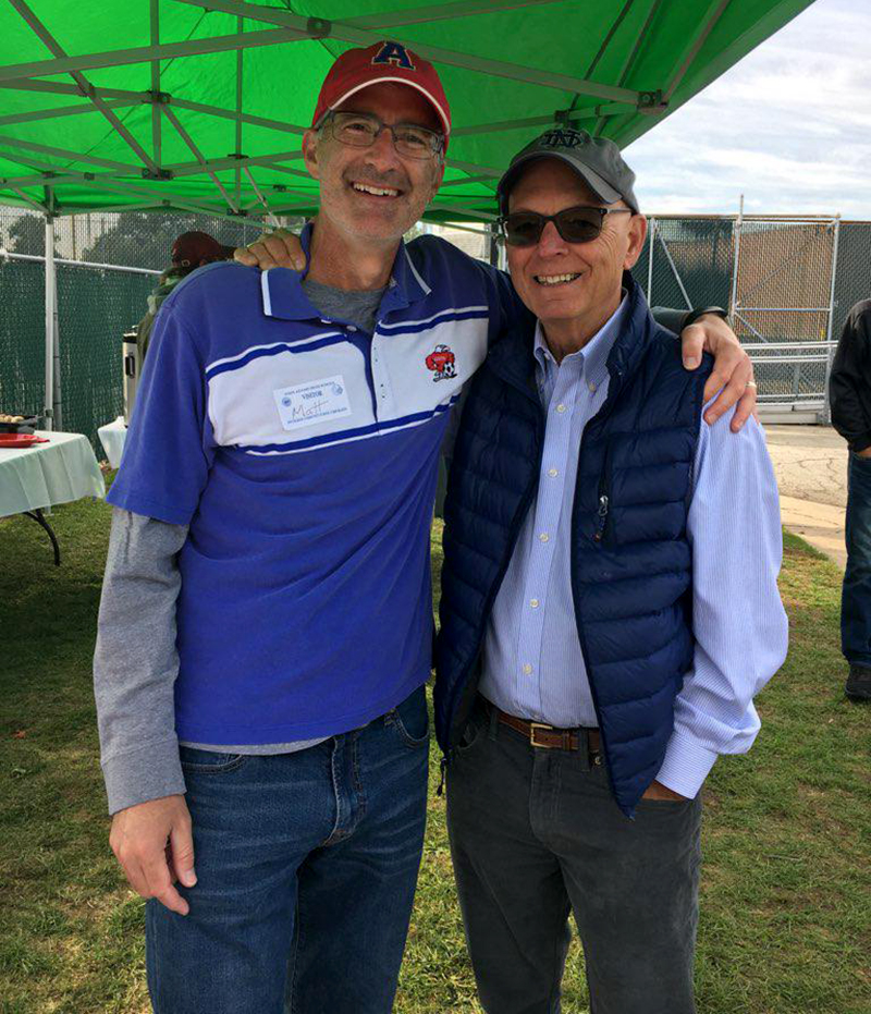 Jim Tallman and South Bend Lions Chief Happiness Officer, Matt Bellina, in the Fall of 2019.